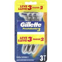 Aparelho De Barbear Descartável Gillette Prestobarba 3 Leve 3 Unidades