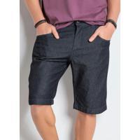 Bermuda Jeans Escuro Com Bolsos