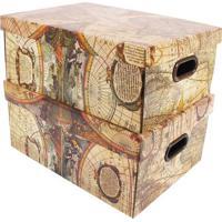 Jogo De Caixas Organizadoras Mundi- Bege & Marrom- 2Boxmania