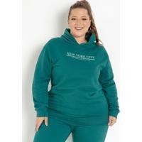 Casaco Verde Escuro Com Capuz Plus Size