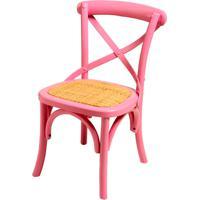 Mini Cadeira Paris Pink De Madeira Sem Braço E Assento De Rattan