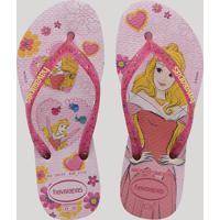 Chinelo Infantil Havaianas Slim Princess Aurora Rosa Claro