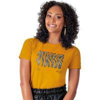 Blusa Em Meia Malha Estampada Amarelo