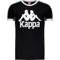 Camiseta Kappa Authentic Due Due Logo - Masculino-Preto