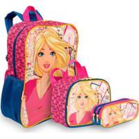 Kit Barbie 19M Infantil Sestini - Mochila + Lancheira + Estojo - Feminino-Rosa