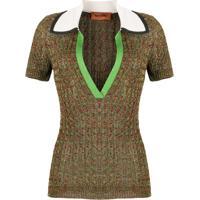 Missoni Camisa Polo Mangas Curtas De Tricô - Verde