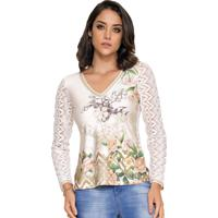 Blusa Rosa K Estampada Crochet Off White