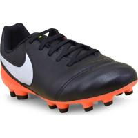 Chuteira Masc Infantil Nike 819186-018 Jr Tiempo Legend Vi Fg Preto/Branco/Laranja