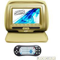"""Encosto De Cabeça Com Monitor - H-Tech - Com Tela De 7"""" Led, Controle, Compatível Com Mp3, Mp4, Mp5 - Bege - Cada (Unidade) - Ht-Eu60Zp"""