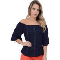 Blusa Mamorena Ombro A Ombro Aplique Renda Azul Marinho