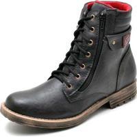 Bota Coturno Top Franca Shoes Masculino - Masculino-Preto