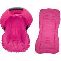 Conjunto Capa De Bebê Conforto E Capa De Carrinho Poá Alan Pierre Baby 0 A 13 Kg Pink