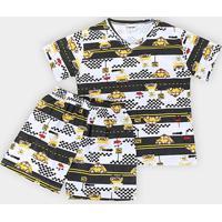 Pijama Infantil Fakini Pistas Masculino - Masculino-Branco