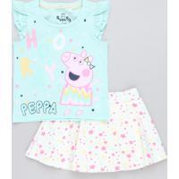 Conjunto Infantil Peppa Pig De Regata Verde Claro + Short Saia Estampado De Estrelas Bege Claro