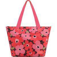 Bolsa Floral Com Tag- Rosa & Coral- 30,5X48X18,5Cm