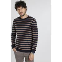 Suéter Masculino Listrado Em Tricô Azul Marinho