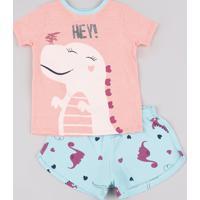 Pijama Infantil Dinossauro Manga Curta Rosa