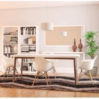 Conjunto De Mesa Groove Branco E Imbúia Com 4 Cadeiras Eames Com Braço Branca