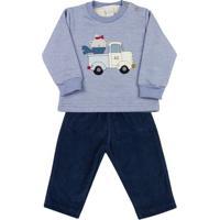 Conjunto Bebê Moletom E Cotelê Ursinho No Caminhão Ano Zero - Masculino-Azul+Marinho