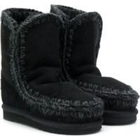 Mou Kids Knitted Trim Eskimo Boots - Preto