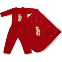 Saída Maternidade Padroeira Baby Girafinha Feliz Vermelho