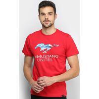 Camiseta Ford Mustang Flag Eua Masculina - Masculino-Vermelho