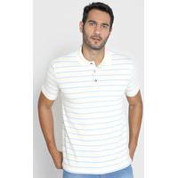 Camisa Polo Reserva Reta Listrada Bicolor Bege/Azul
