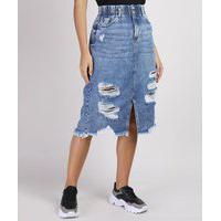 Saia Jeans Feminina Midi Destroyed Com Fenda Azul Médio
