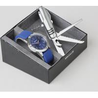 Kit De Relógio Analógico Seculus Masculino + Canivete - 23663G0Svni1K Azul - Único