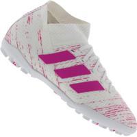 Chuteira Society Adidas Nemeziz 18.3 Tf - Adulto - Branco/Rosa