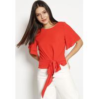 Blusa Texturizada Com Amarração - Vermelhamoiselle