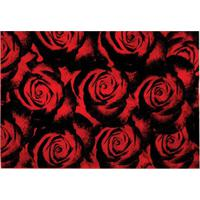 Capacho Veludo Marbella Boreal Rosas Red 48X90
