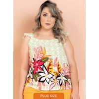 Blusa Babado Ariel Floral Verde Plus Size
