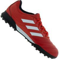 Chuteira Society Adidas Copa 20.3 Tf - Adulto - Vermelho/Branco