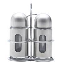 Conjunto De 3 Peças (Saleiro, Pimenteiro E Suporte) Em Aço Inox E Vidro Round