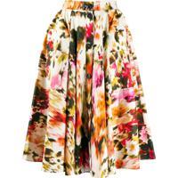 Msgm Full Floral Skirt - Neutro
