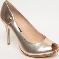 Peep Toe Em Couro Com Tag - Dourado- Salto: 10Cmjorge Bischoff