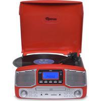 Toca Discos Raveo Jazz Vermelho Bluetooth Usb E Sd Fm Cd Player E Gra