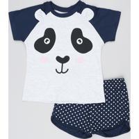 Pijama Infantil Raglan Ursinho Manga Curta Azul Marinho