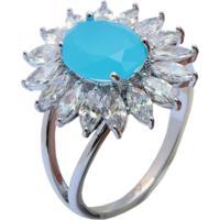 Anel Flor Cravejado Com Zircônia Azul Turquesa Banho Em Ródio Aro 18