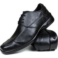 Sapato Social De Couro Masculino Confort Gel Preto