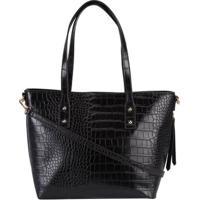 Shopping Bag Stz Textura Croco Preto -
