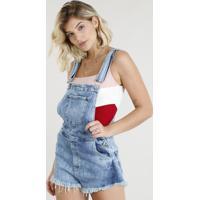 Jardineira Jeans Feminina Canelada Barra Desfiada Azul Claro
