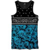 Camiseta Bsc Regata Blue Rose Bandana Full Print - Masculino-Preto
