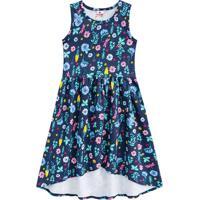 Vestido Floral Com Recortes- Azul & Rosa- Kids- Brandili