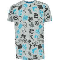 Camiseta Oxer Print - Infantil - Cinza
