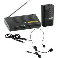 Microfone Headset Skp Vhf855 Sem Fio Preto