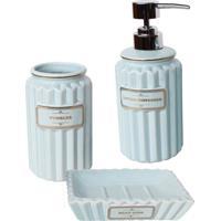Conjunto Para Banheiro 3 Peças Azul Gold Thread Urban Home