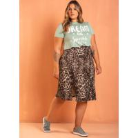 Saia Fenda Lateral Jaguar Plus Size