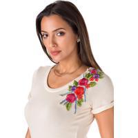Blusa Sideral Com Aplique Floral Bordado Bege